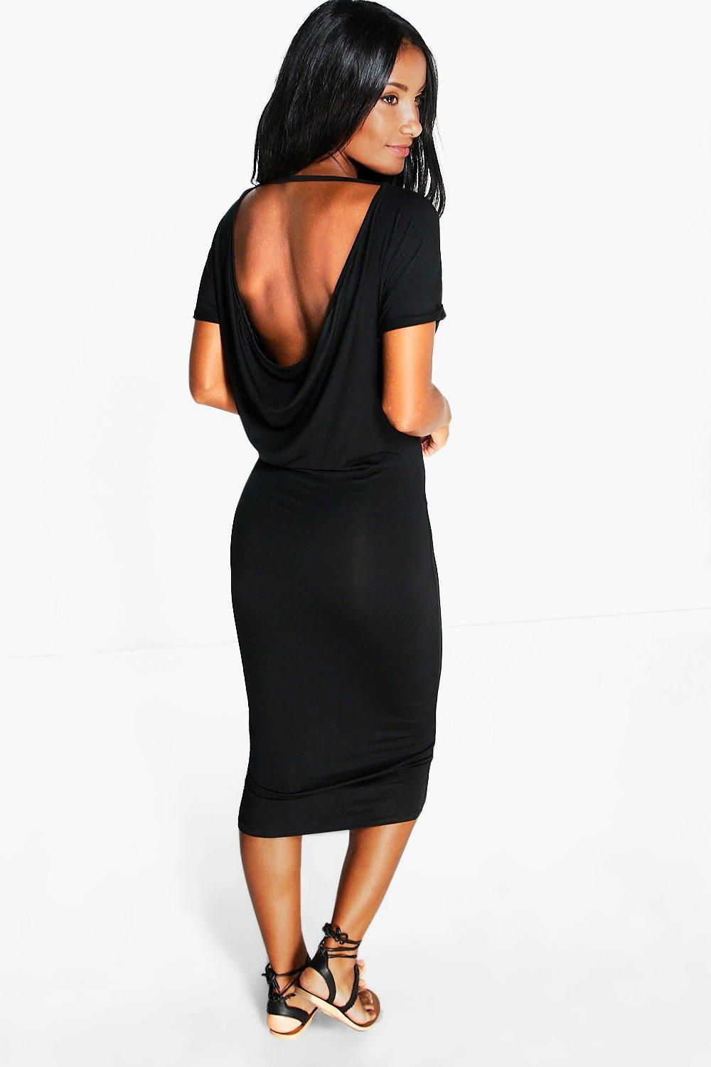 Lois Drape Back Cap Sleeve Midi Dress