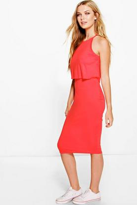 Becky Sleevless Double Layer Midi Dress