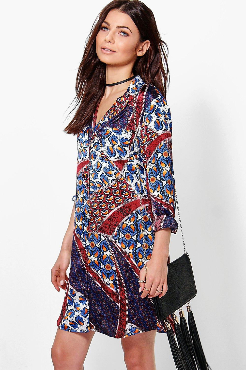 Jinny Satin Paisley Pyjama Shirt Dress