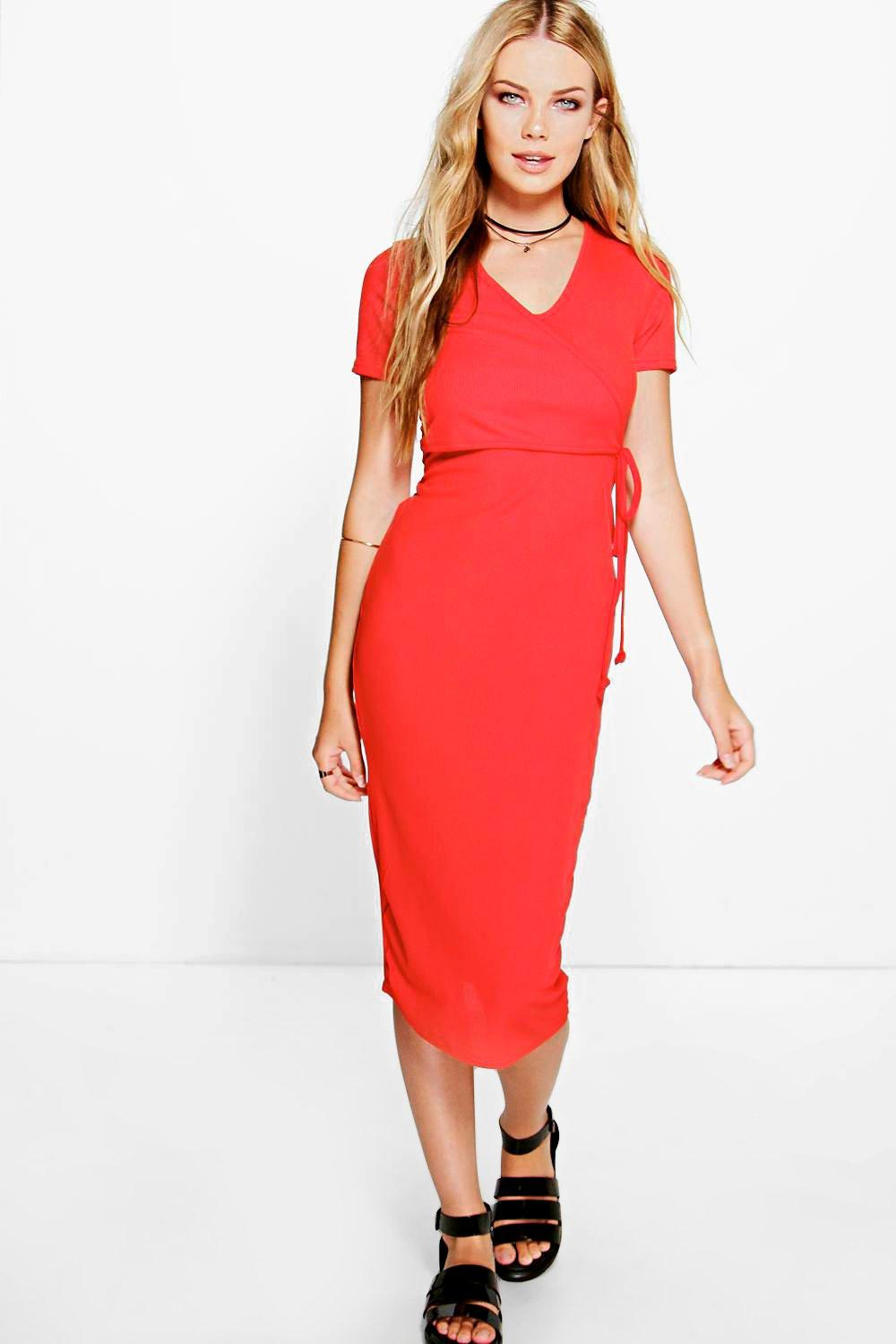Tilly Ribbed Cap Sleeve Midi Dress