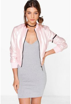 Alisha Metallic Leather Look MA1 Bomber