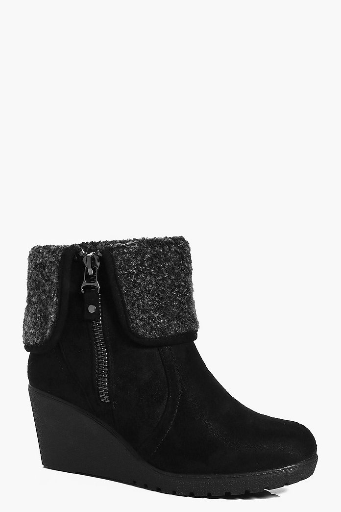 Laura Wedge Shearling Cuff Boot
