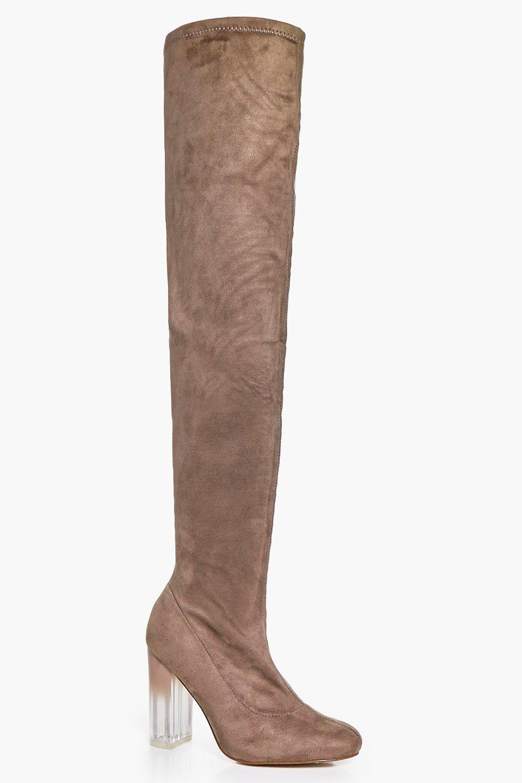 Macy Clear Heel Thigh Boot