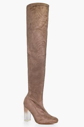 Macy Clear Heel Thigh Boot