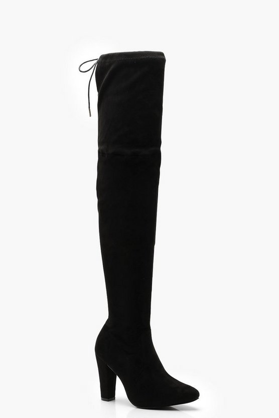 Rose Block Heel Thigh High Boot