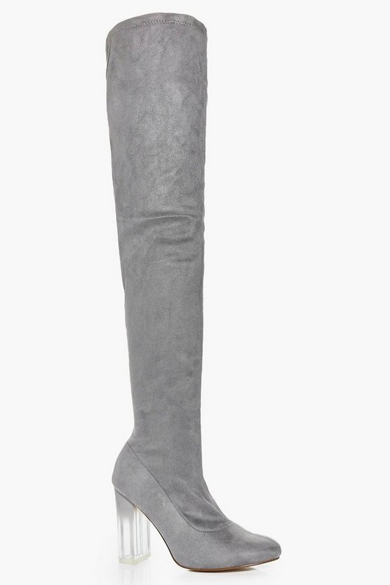 Abbie Clear Heel Thigh High Boot