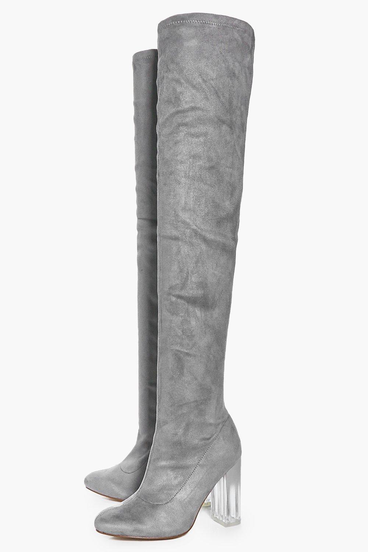 boohoo womens abbie clear heel thigh high boot ebay