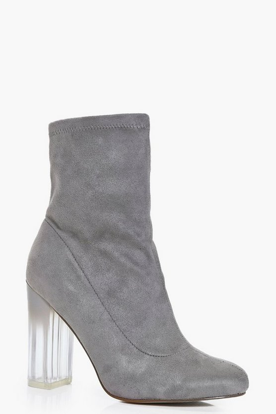 Neve Clear Heel Sock Boots