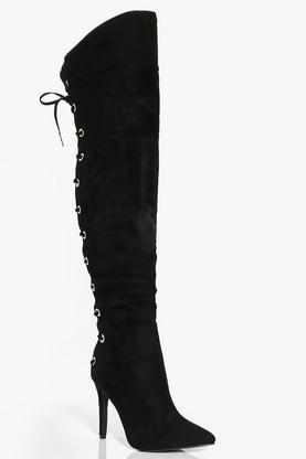 Anna Thigh High Chunky Eyelet Boot