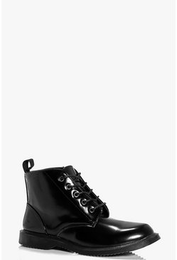 Lauren Box PU Chunky Lace Chelsea Boot