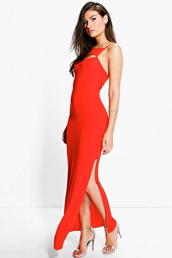 Katy Cut Out Neck Slip Maxi Dress