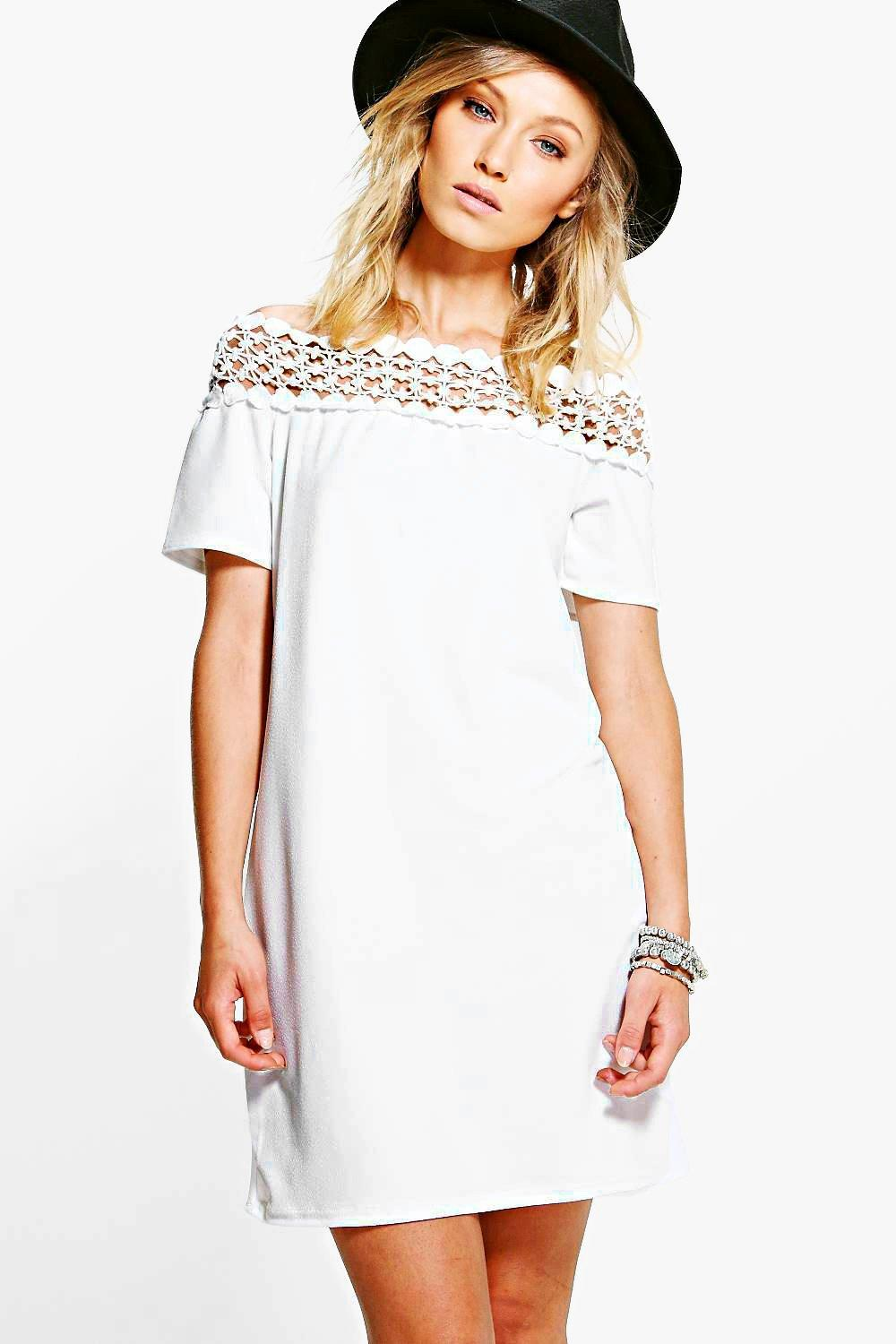 Harlow Crochet Trim Bardot Shift Dress