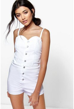 Daisy White Denim Playsuit