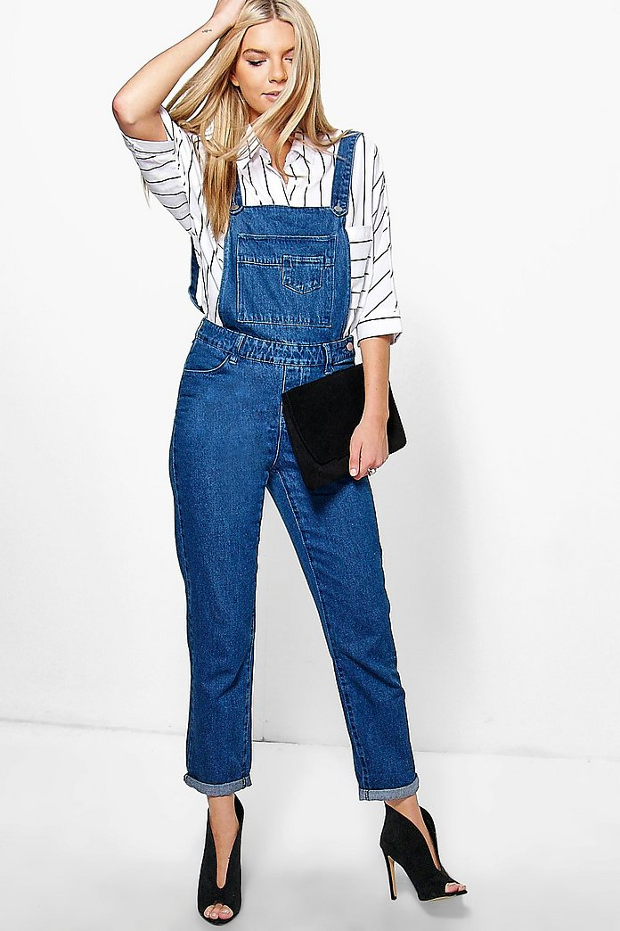 Rose Mid Wash Relaxed Fit Denim Dungarees