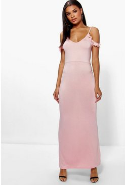Summer Ruffle Cold Shoulder Maxi Dress