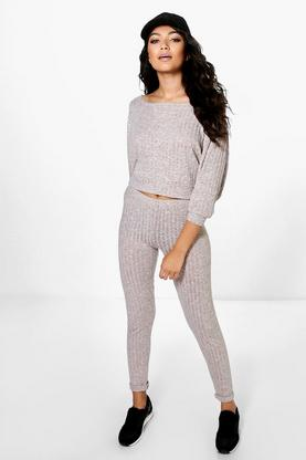 Lola Batwing Rib Knitted Loungewear Set