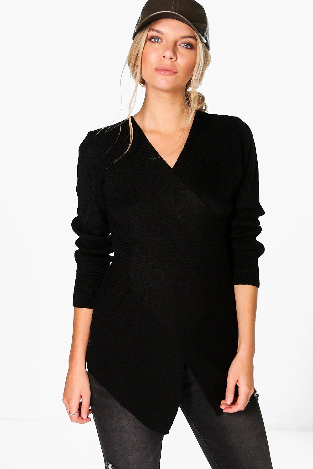Sophie Rib Knit Cross Front Jumper