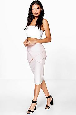 Cassie Textured Peplum Midi Skirt