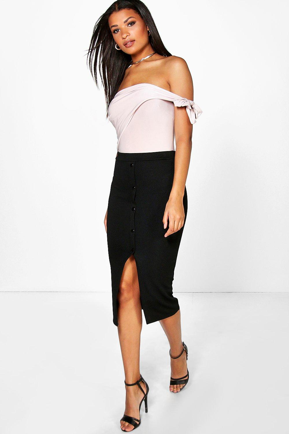 Grace Button Through Ribbed Longline Skirt