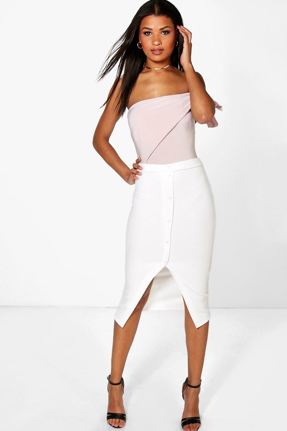Button Through Ribbed Longline Skirt ivory