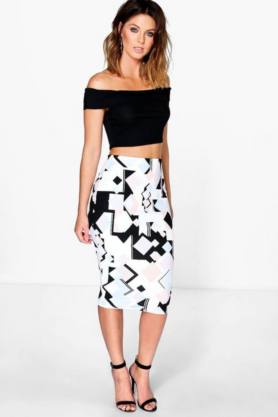 Willow Pastel Geo Print Bodycon Midi Skirt