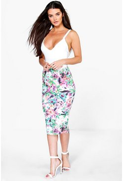 Lois Tropical Floral Bodycon Midi Skirt