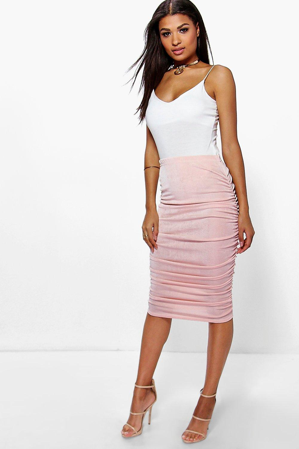Textured Slinky Rouched Side Midi Skirt blush