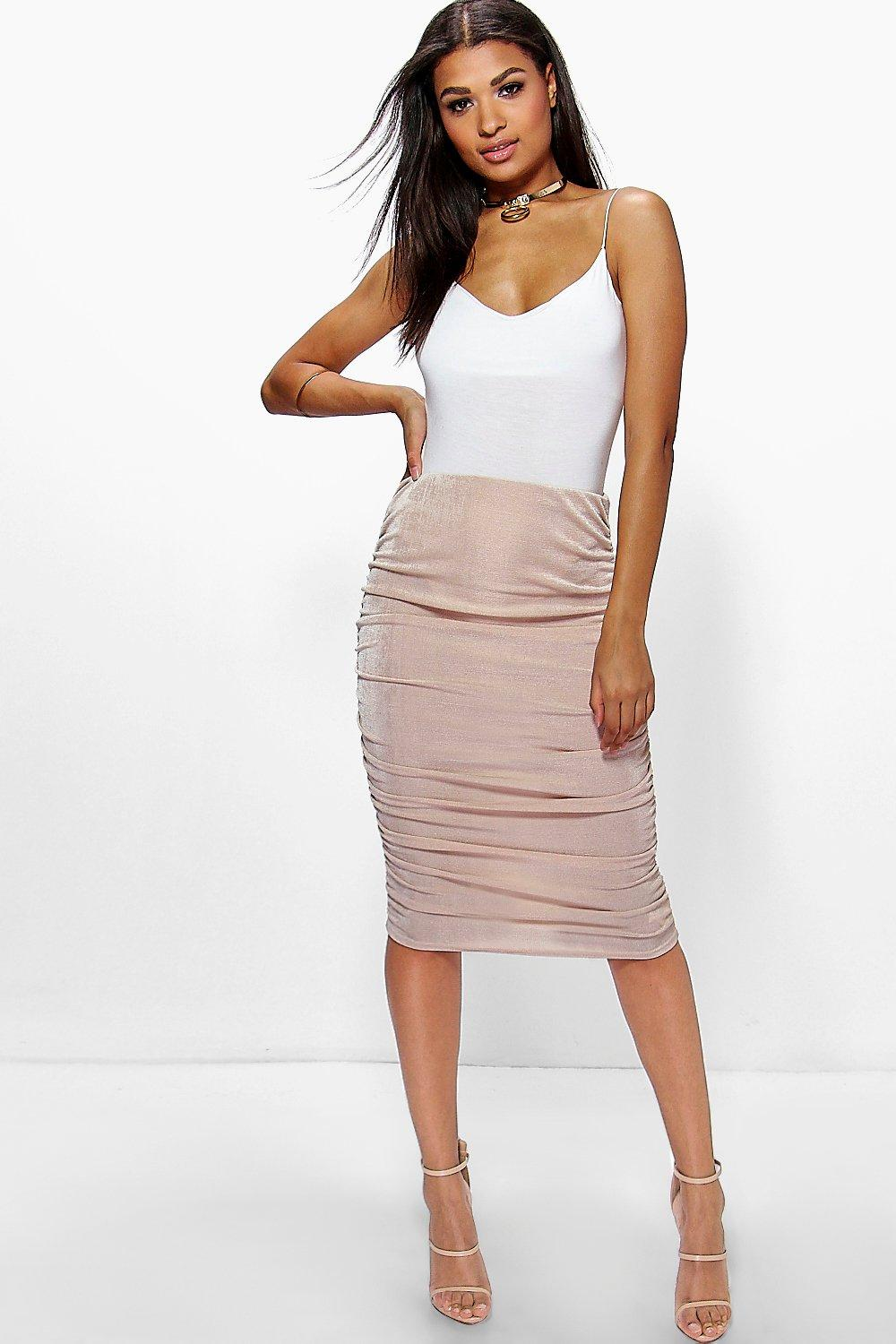 Textured Slinky Rouched Side Midi Skirt stone