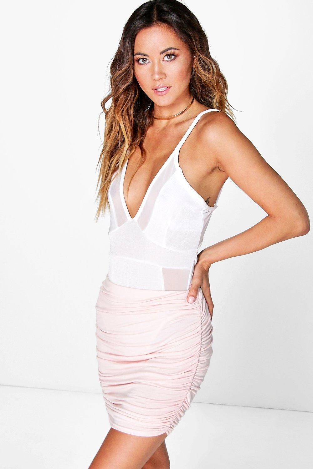 Olivia Rouched Side Jersey Mini Skirt
