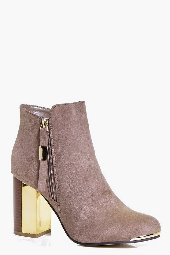 Katie Block Gold Heel Ankle Boot