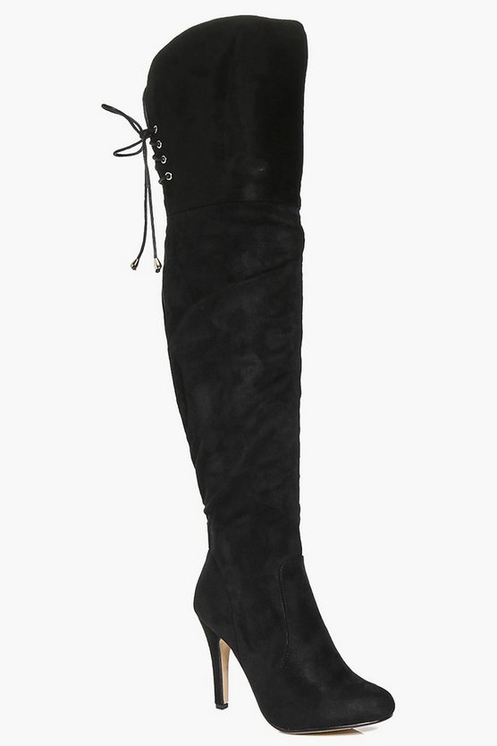 Lexi Lace Back Over The Knee Boots