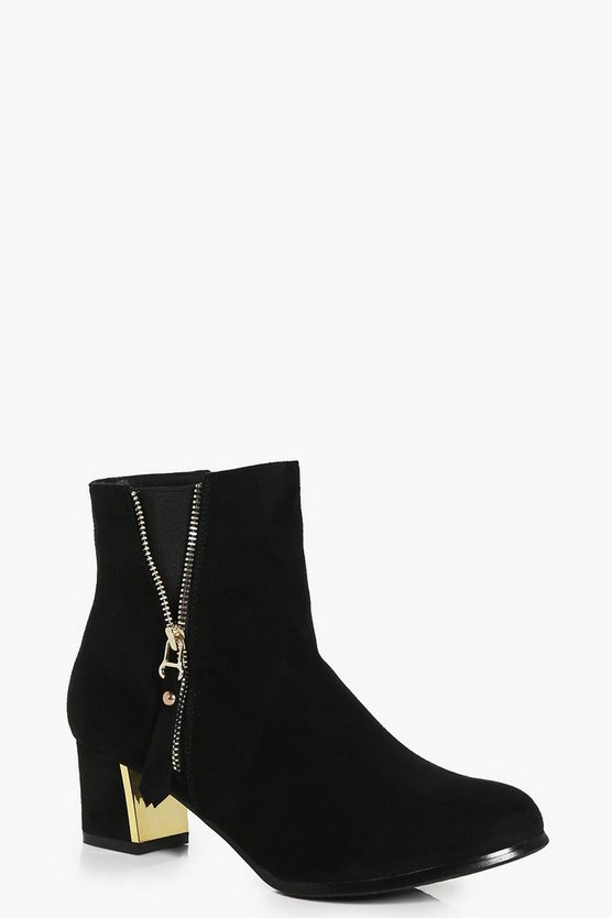 Maya Zip Detail Block Heel Ankle Boot