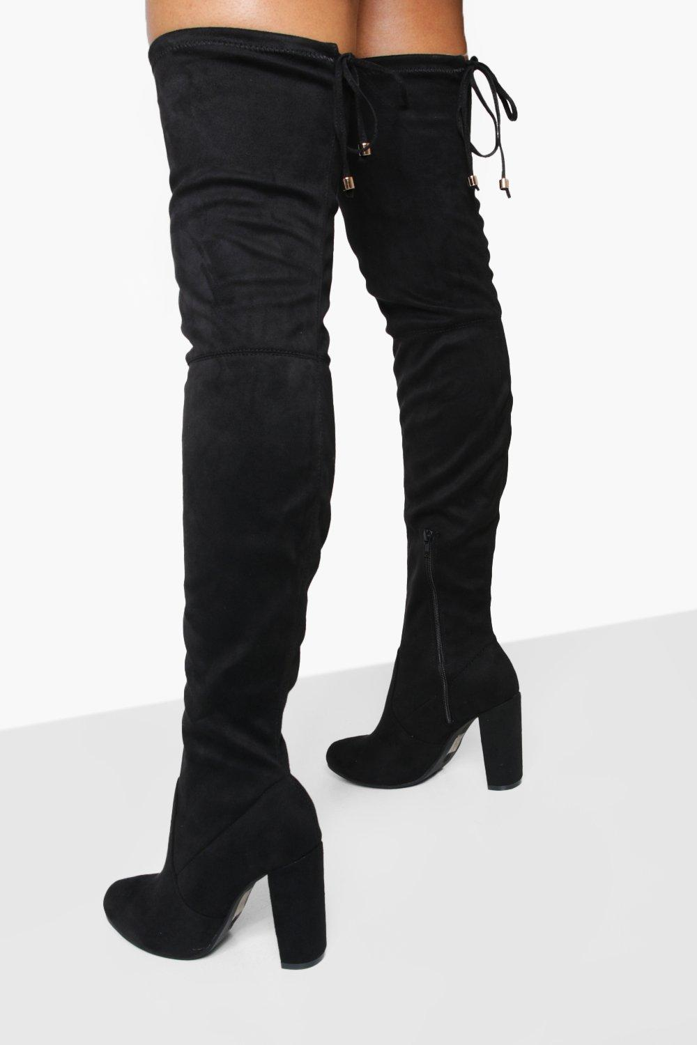 boohoo Womens Block Heel Tie Back Thigh High Boots - Black - 6, Black