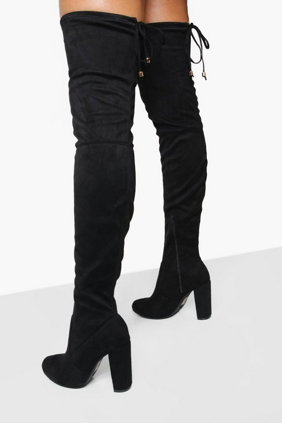 Sadie Block Heel Tie Back Thigh High Boots