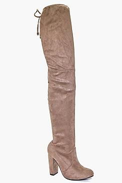 Block Heel Tie Back Thigh High Boots