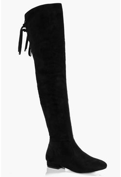 Rachel Flat Ankle Tie Knee High Boot