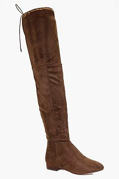Lucy Flat Tie Back Over The Knee Boot