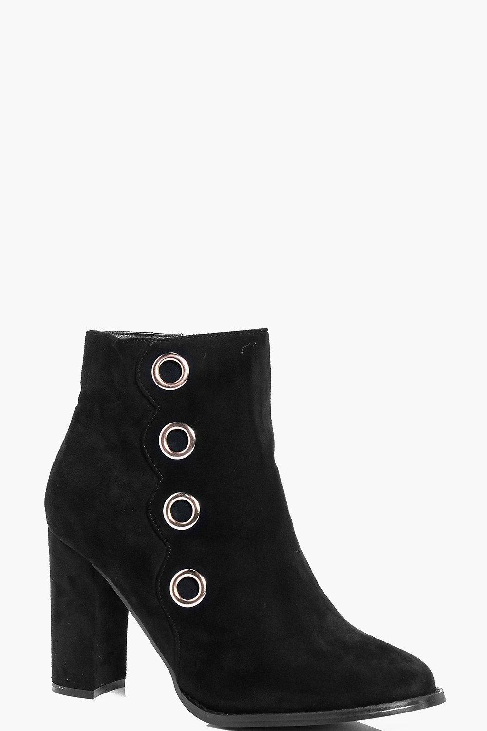 Elena Eyelet Detailed Heeled Ankle Boot