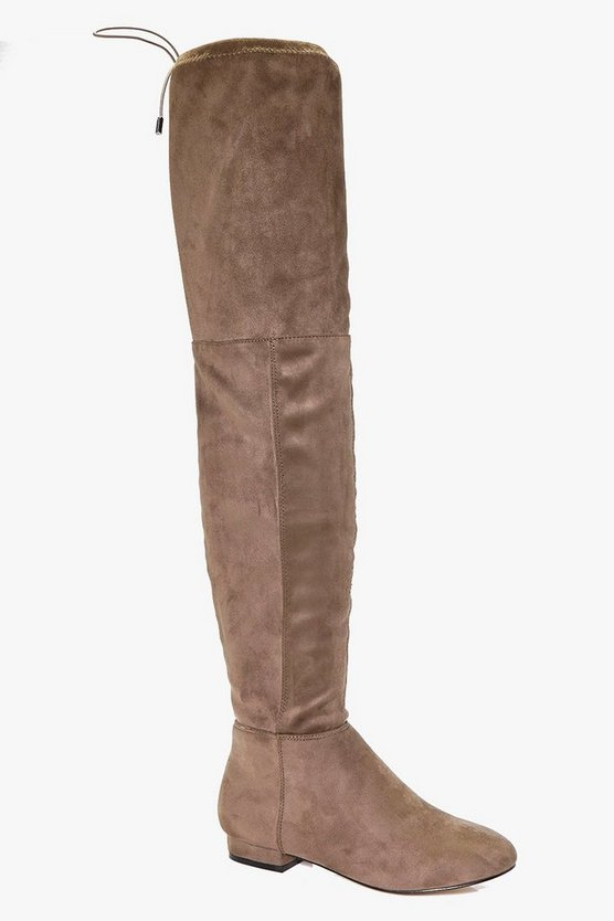 Orla Flat Tie Back Over The Knee Boots
