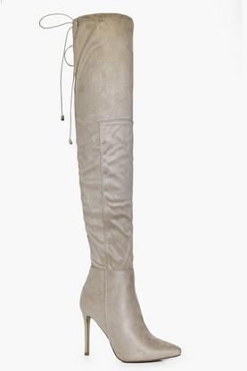 Edie Pointed Tie Thigh High Boot