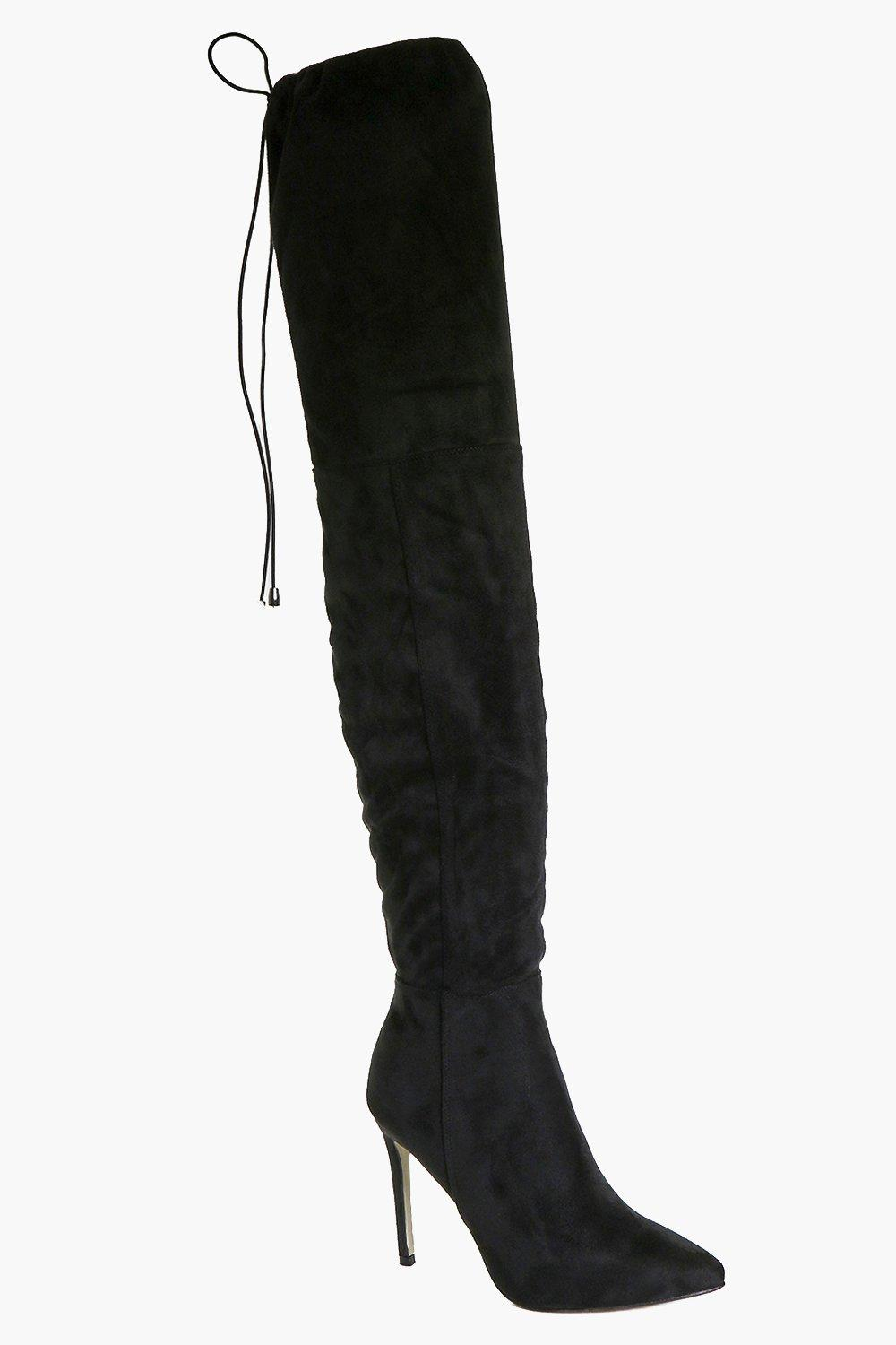 Pointed Toe Thigh High Boot black