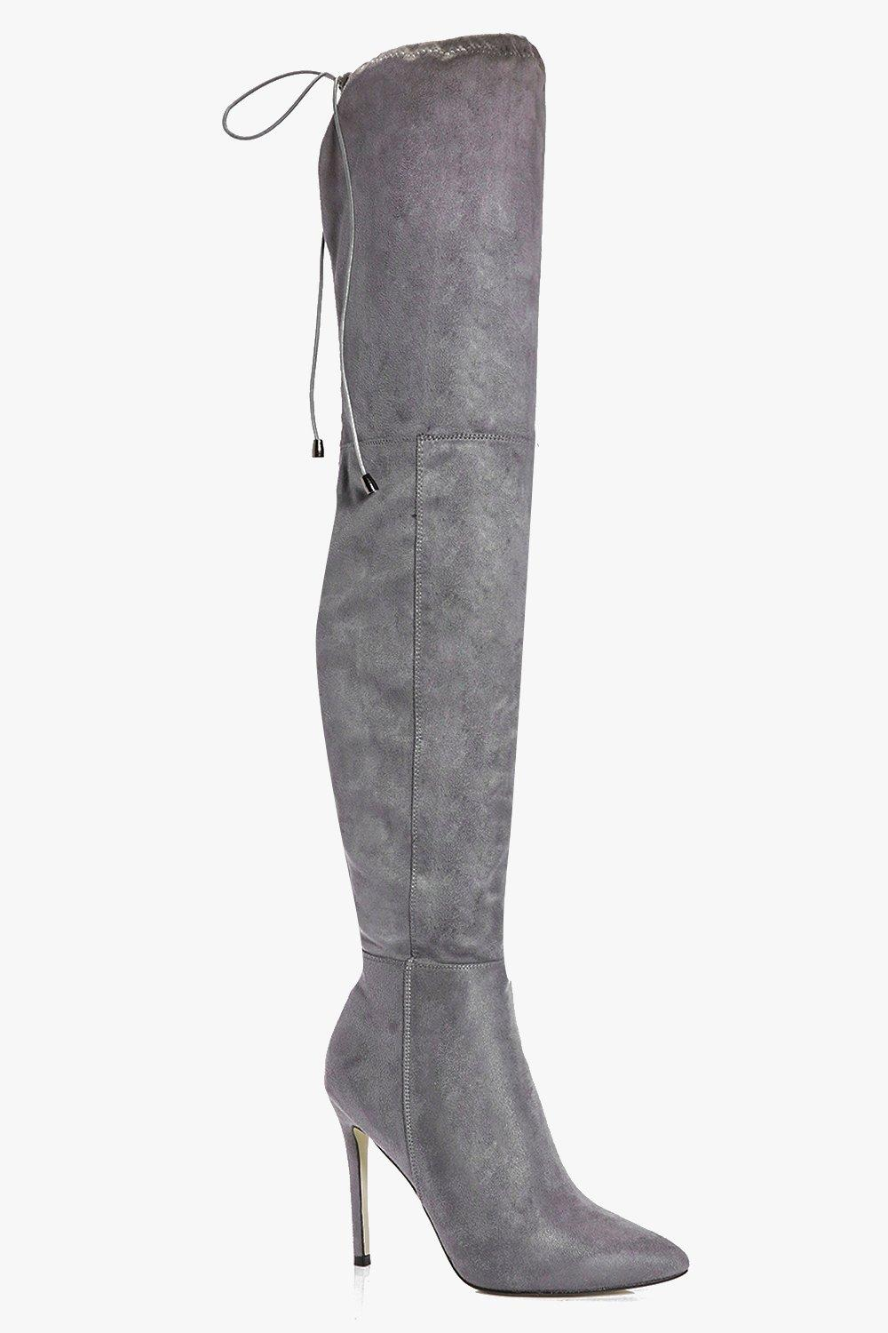 Pointed Toe Thigh High Boot grey