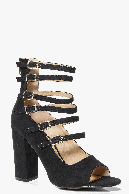 Peeptoe Multi Buckle Heel - black