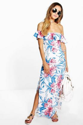 Sasha Floral Print Off Shoulder Maxi Dress