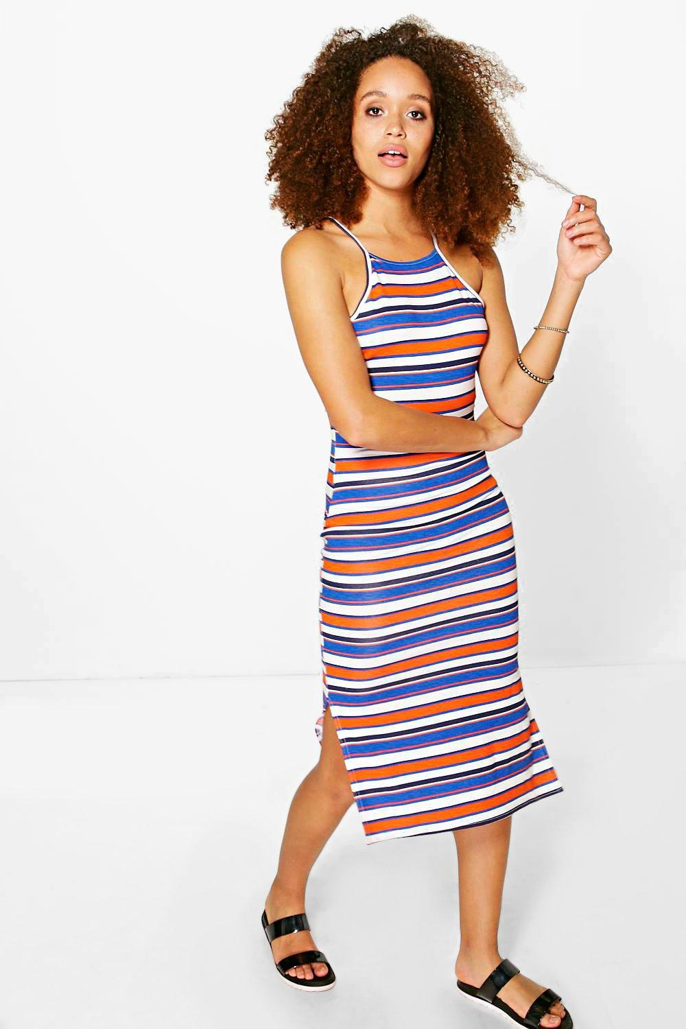 Tanya 90s High Neck Stripe Midi Dress