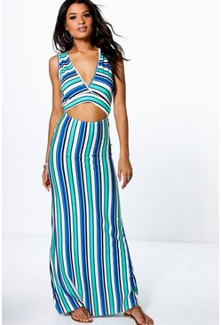 Freyja Cut Out Stripe V Neck Maxi Dress