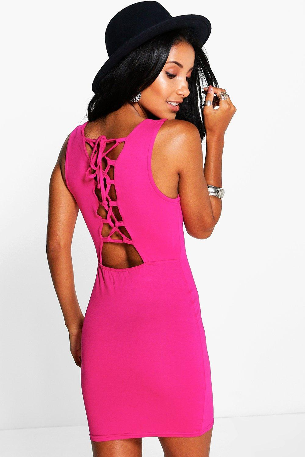Pamela Lace Up Back Mini Bodycon Dress