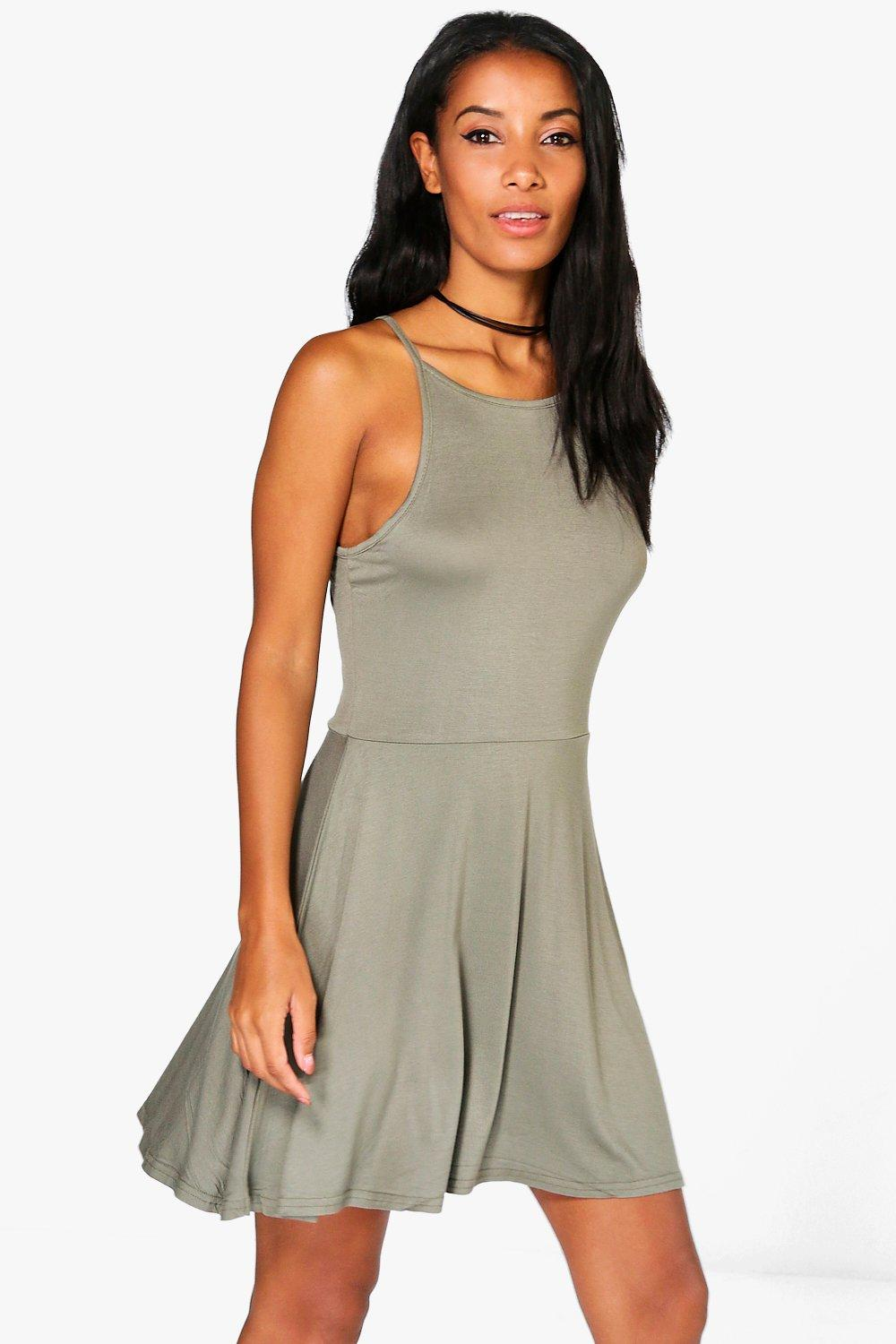 Maya 90s High Neck Skater Dress