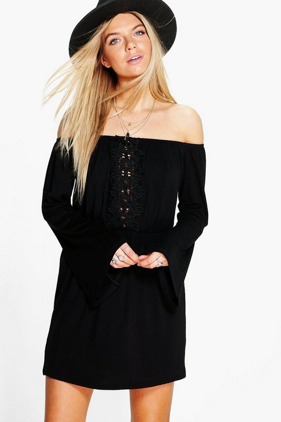Olga Crochet Off Shoulder Bell Sleeve Dress