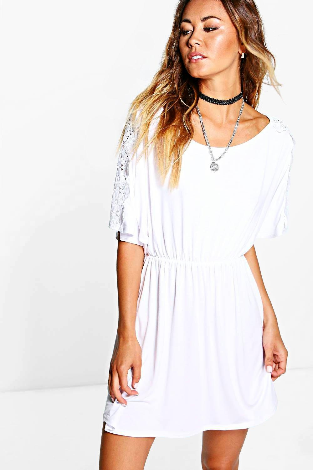 Jasmine Crochet Sleeve Swing Dress